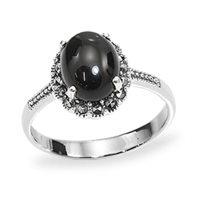 Round Agate & a Dainty Halo Marcasite Ring